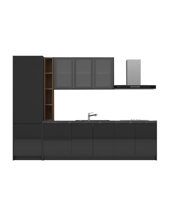 Virago A08 Glossy Black Kitchen Cabinet