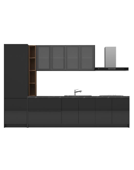 Virago A09 Glossy Black Kitchen Cabinet